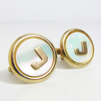 Vintage Cuff Links: Mother of Pearl with Gold tone Letter J