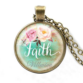 Faith,Dream,Love,Hope,Vintage,Believe Art Letter Printed Glass Cabochon Pendant Necklace For Women Men Quote Jewelry Gifts