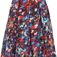 Saloni - Bettina printed cotton-blend cloqué midi skirt