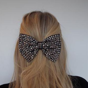 Gunmetal/Grey Jewelled Bow Hairclip from Olivia Divine