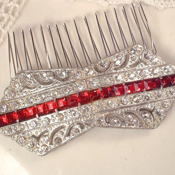 1920s Art Deco Ruby Red & Clear Rhinestone Hair Comb or Sash Brooch, Vintage Silver Heirloom Wedding Pin or OOAK Headpiece Great Gatsby OOAK
