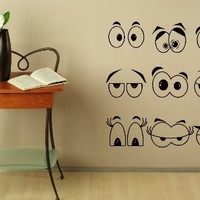 Wall Decals for Nursery Cartoon Eyes Decal Vinyl Sticker Home Decor Nursery Bedroom Interior Window Decals Living Room Art Murals Chu1369