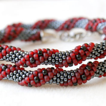 Beaded crochet necklace, rope, gunmetal, red cherry, black, spiral, silver, gift idea, one of a kind, seed bead jewelry