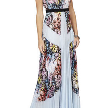 BCBG Kayda Halter-Neck Pleated Print-Blocked Gown