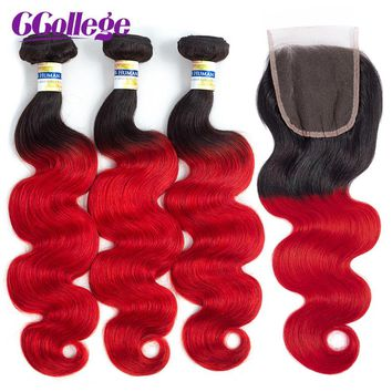 """Red Brazilian Hair 4 Bundles Ombre Human Hair Weave  Remy 4""""*4"""" Lace Closure"""