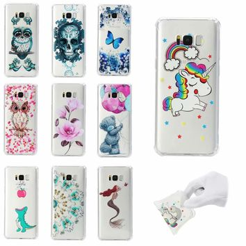 Animal Case For Samsung 5 7 8 9 plus Mermaid Crocodile Butterfly Skull Soft TPU Samsung 6 7 Edge Bear Horse Owl Case Back Cover