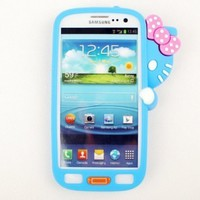 Evergreat Technology cute Hiding Hello kitty Silicone Soft Case cover For Samsung Galaxy S3 SIII i9300