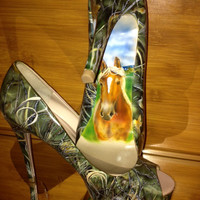 Custom Order, Artist Hand Painted, Pet Portrait, Max Camo, High Heel Shoes