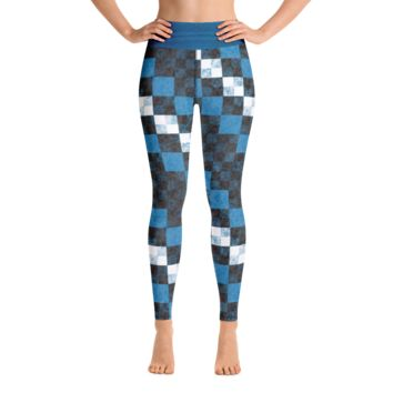 Blue Checker Dash Yoga Leggings