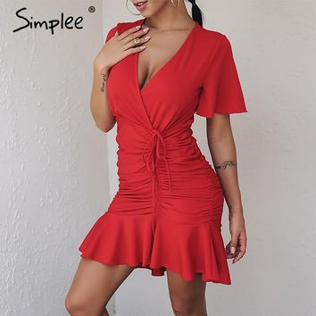 Simplee Red ruffle deep v neck sexy dress Women dress 2018 sash pleated loose sundress mini dress Beach short party dress new