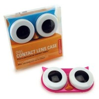 Kikkerland Owl Contact Lens Case, Assorted Colors, Pink/Blue/Green: Health & Personal Care