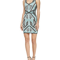 Herve Leger Geometric Ikat Bandage Tank Dress