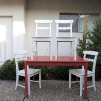 MODERN SET Red Kitchen Table and 4 White Chairs