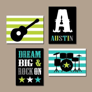 GUITAR Wall Art,Guitar Nursery Art,Music Theme,Baby BOY Nursery Decor,Big Boy Room,CANVAS or Prints,Music Art,Dream Big Rock On,Set of 4