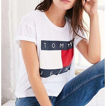 Tommy Hilfiger Tommy men and women classic tee shirt T-shirt Grey