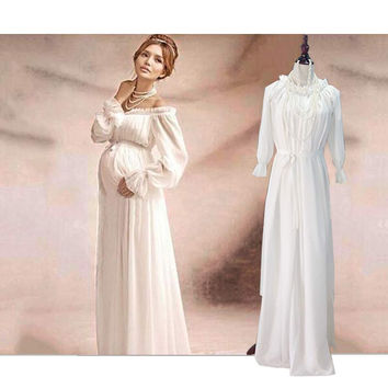 New Royal Style White Lace Maternity Dress Pregnant Photography Props Pregnancy Maternity Photo Shoot Long Dress Nightdress
