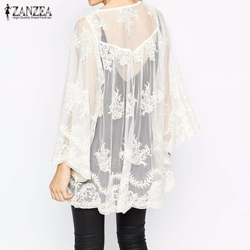 2016 Summer ZANZEA Women Beach Lace Floral Blouses Shirts Sexy Long Sleeve Kimono Cardigan Casual Loose White Outwear Plus Size