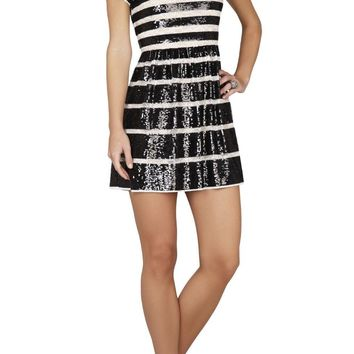 TASI SEQUIN-STRIPED LACE MINI DRESS