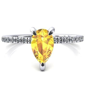 Mayeli Pear Yellow Sapphire 3 Claw Prong Micro Pave Diamond Sides Engagement Ring