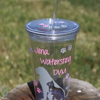 Personalized Tumbler for Veterinarian or Vet Tech- Super Cute - Decorated with Cat and Dog Silhouette and Paw Prints - Completely Customized