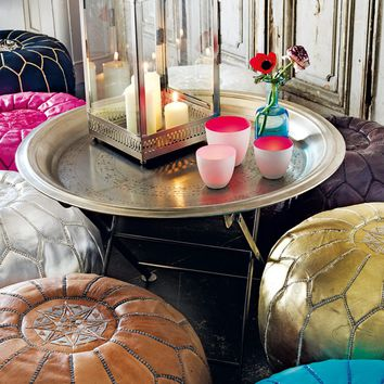 Hand Embossed Iron Round Tray Table