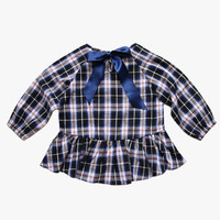 Vierra Rose Meeri Peplum Top in Plaid - FINAL SALE