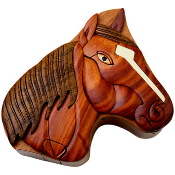 Horse Head Wooden Puzzle Box