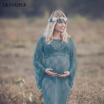 Round Neck Lace Maxi Maternity Photoshoot Dress
