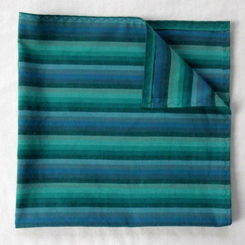 "19.5"" XLarge Chambray Handkerchief / Yarn Dyed Stripe Handkerchief / Chambray Hankies / Teal Hankies / Handmade Cotton Hankies / Large Hanky"