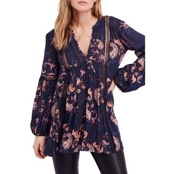 Free People Just The Two Of Us Blue Floral Tunic, Size S