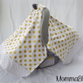 infant- baby- girl- gender neutral- White and Metallic Gold Polka Dot and White Minky Trimmed Carseat Cover -carseat canopy