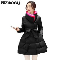 2017 New Winter Jacket Women Stand Collar Female Solid Warm Coat Slim Cotton-Padded Long Wadded Parka Skirt Outwear BN031-1