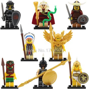 QUEST Single Sale Saint Legoingly Figure Aborigines Tutankhamun Hun Warrior Ares Chief Evil Knight Building Blocks Model Toys