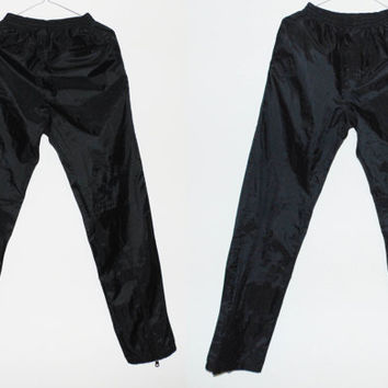 Black nylon sporty skinny womens vintage pants long black pants with zip on the leg cool xs s size pants stretchy waist sporty