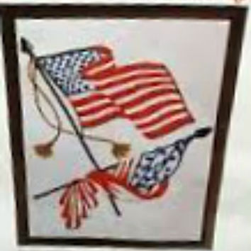American Flags Wonder Art Americana Stitchery Patriotic Embroidery Kit