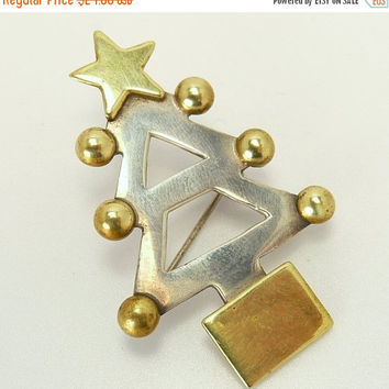 Mexican Sterling Silver & Brass Christmas Tree Brooch