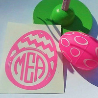 Monogram Easter egg decal, Easter bucket decal, Sticker for tumbler, Gift for girl, Gift for Boy, Easter basket sticker