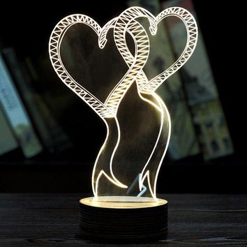 3D LED Atmosphere Visual Double Love Wooden Base Sleeping Night Light