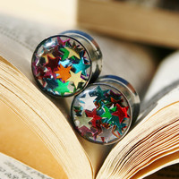 Star Glitter Plugs in Resin for gauged ears custom size 00g,7/16g, 1/2g, 9/16g, 5/8g, 3/4g, 7/8g, 1""