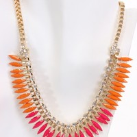 Fuchsia Multi Faceted Beaded Box Chain Necklace