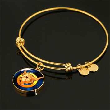 Zodiac Sign Taurus - 18k Gold Finished Bangle Bracelet