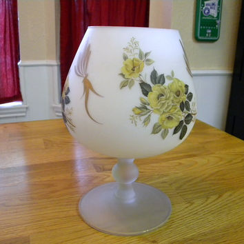 Large brandy snifter frosted glass with yellow rose design gold trim
