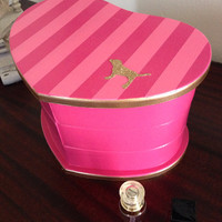 Hand Painted Heart Shaped Jewelry Box Victoria's Secret Pink Inspired