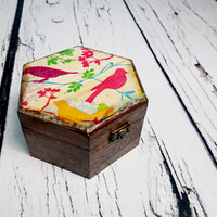 READY TO SHIP Trinket colorful funny birds small box decoupage keepsake gift for her steampunk rustic