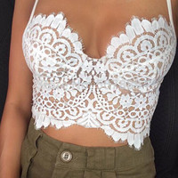 White Spaghetti Strap Floral Lace Cropped Top