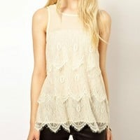 Voile Lace Sleeveless Top