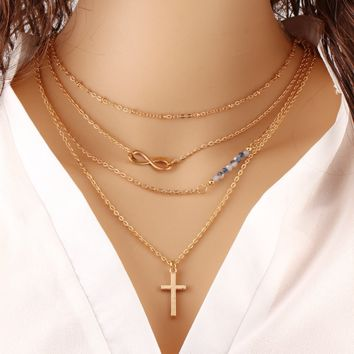 Multi - layer metal cross inverted 8 clavicle chain bead wild necklace anti - allergic necklace