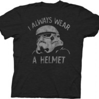 Junk Food Star Wars Stormtrooper I Always Wear a Helmet Charcoal Black Adult T-shirt  - Star Wars - | TV Store Online
