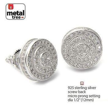 Jewelry Kay style Men's Bling Hip Hop 925 Silver 3D Round Screw Back Stud Micro Pave Earrings 454S