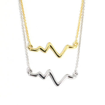 Sterling Silver Heartbeat Necklace - Silver or Gold